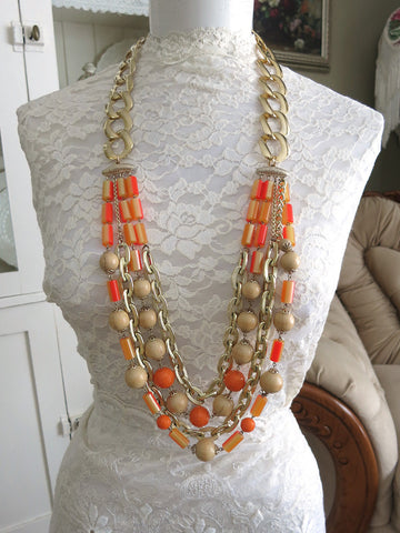 Orange Multi-strand Necklace