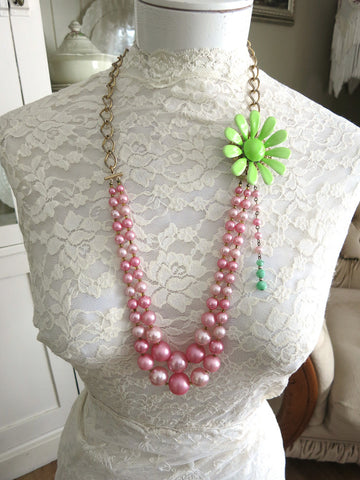 Cotton Candy Pink With Lime Green Flower Necklace
