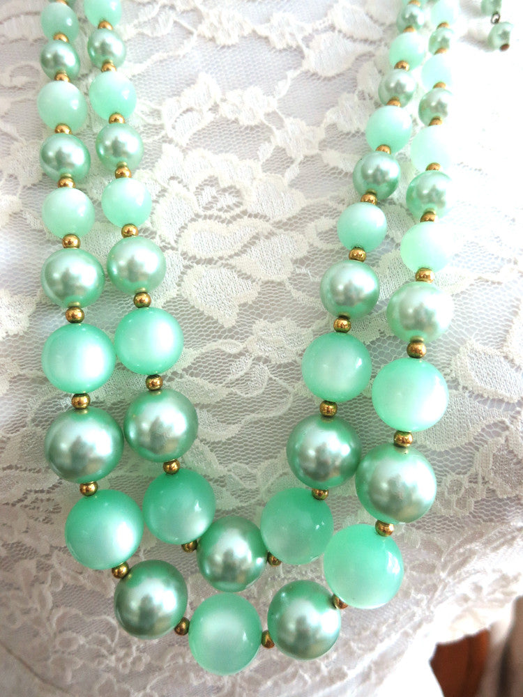 Seafoam Pearls and pastel Pink Flower Necklace