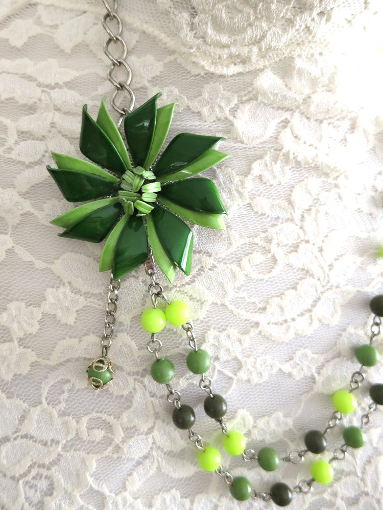 Sage Green Enamel Flower Necklace
