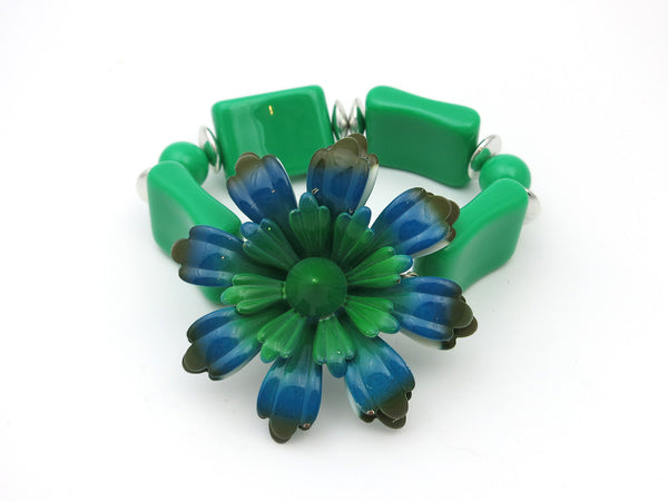 Green & Teal Enamel Flower Bracelet
