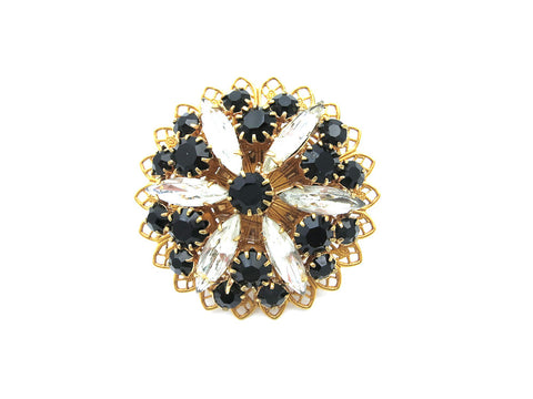 Black and Clear Rhinestone Flower Ring