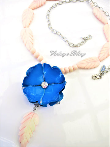 Blue Enamel Flower Necklace