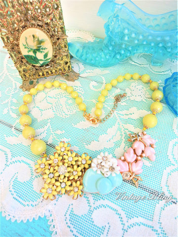 Yellow Collage Necklace