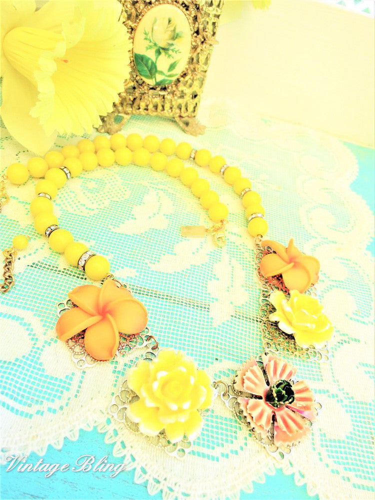 Orange and Yellow Flower Necklace