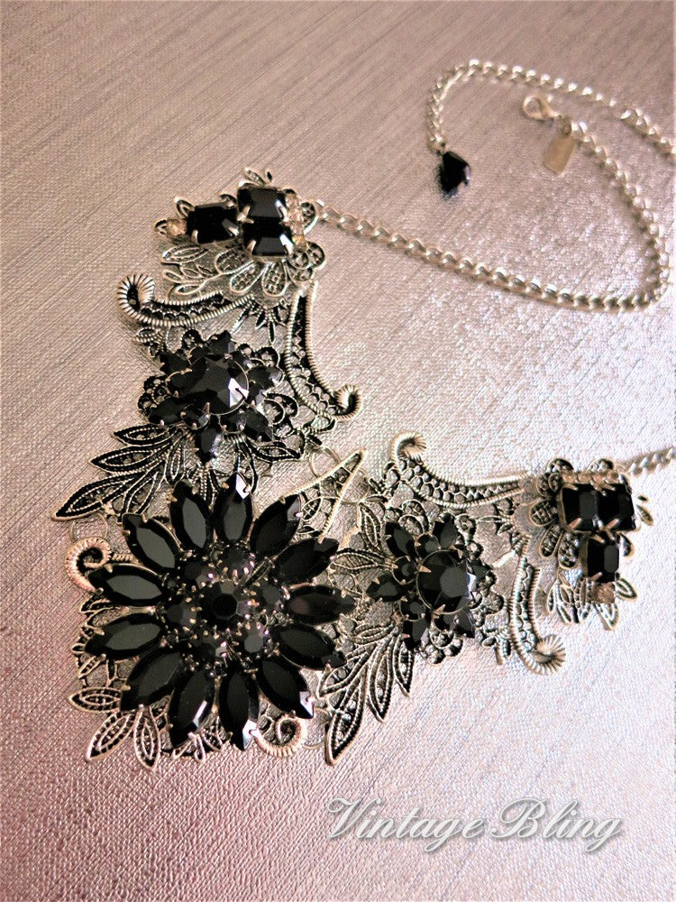 Black Bib Style Necklace