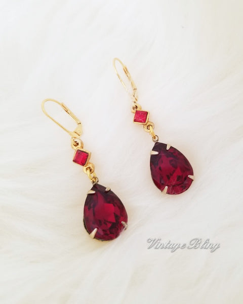 Beautiful Red Teardrop Earrings