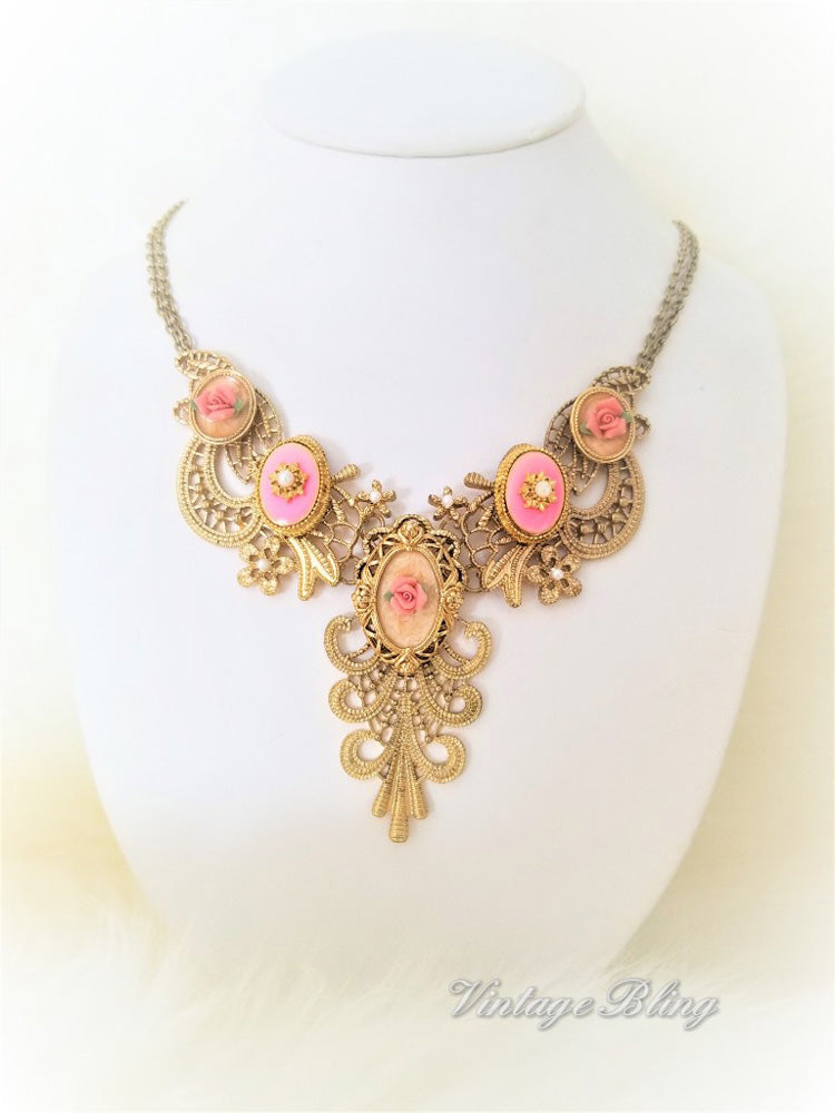 Pretty Pink Filigree Necklace
