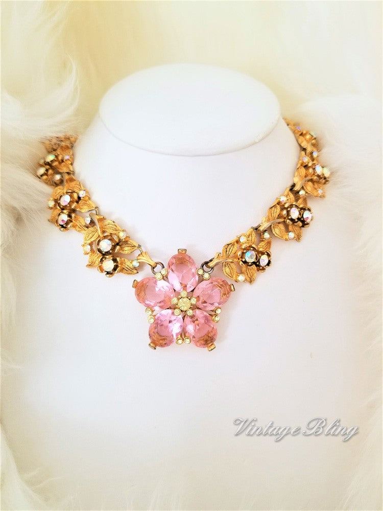 Gorgeous Glamorous Pink Flower Necklce
