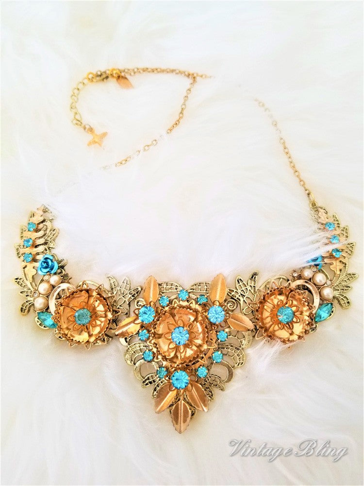 Turquoise and Gold Filigree Bib Style Necklace