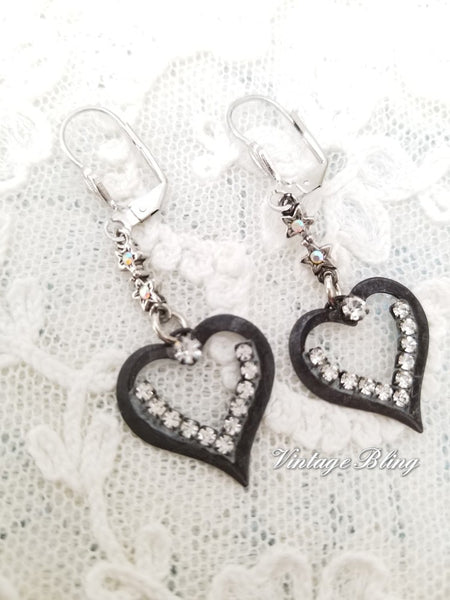 French Noir Heart Earings