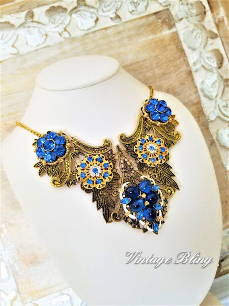Gorgeous Blue Bib Necklace