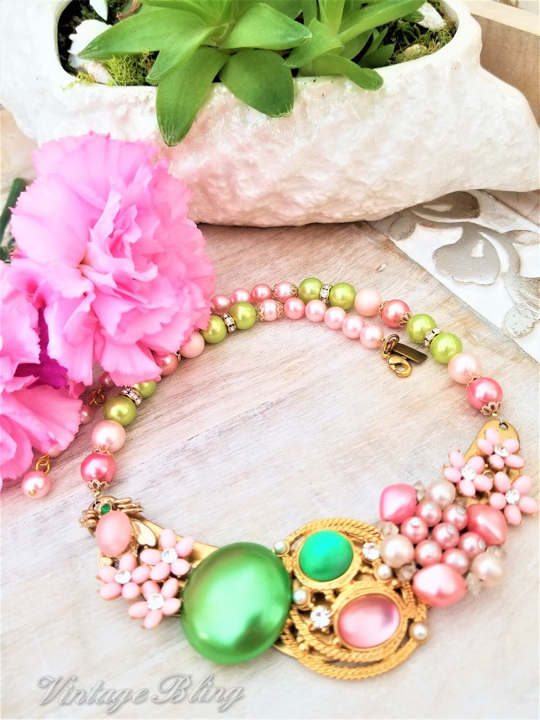 Pink and Green Statement Necklace