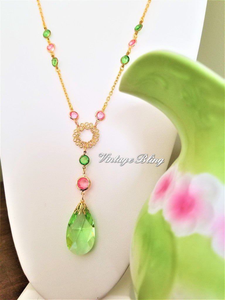 Green & Pink Chandelier Crystal Necklace
