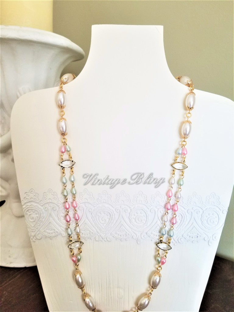 Ladder Design Pastel Pearl Necklace