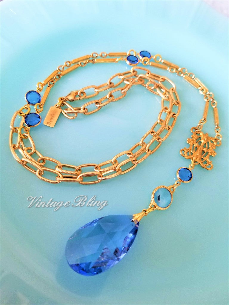 Sapphire Blue Chandelier Crystal Necklace