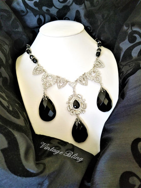 Black Beauty Chandelier Crystal Necklace