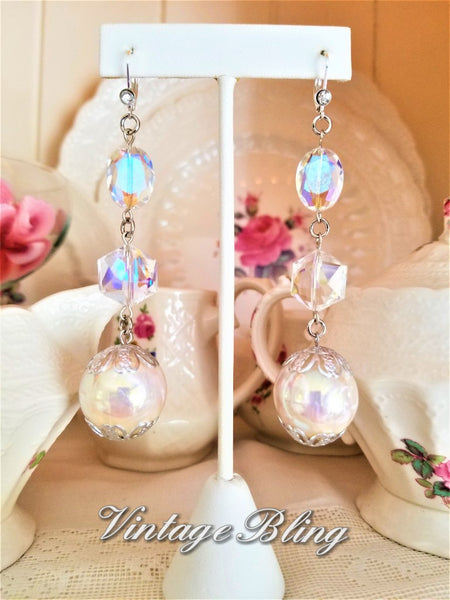 Pearl Ball and Swarovski Crystal Earrings