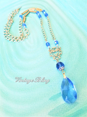 Sapphire Blue with Silver Chandelier Necklace