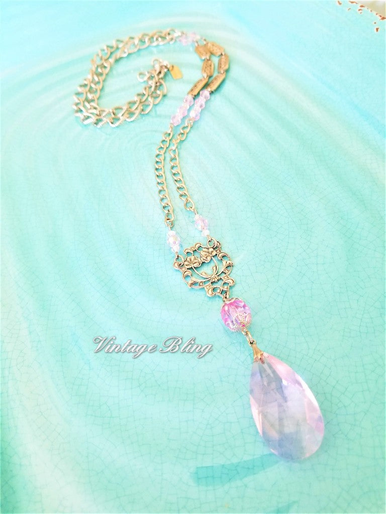 Peony Pink Chandelier Crystal Necklace