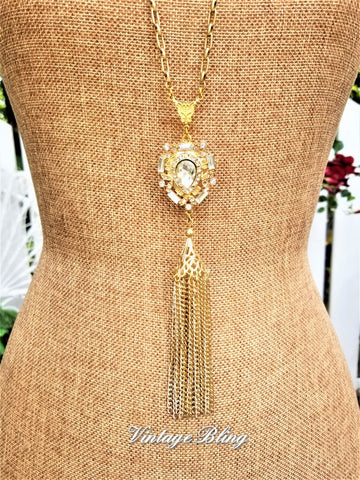 Gold Rhinestone Pendant Tassel Necklace