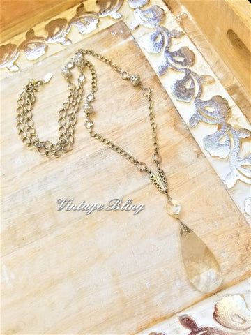 Etched Crystal Teardrop Necklace Silver