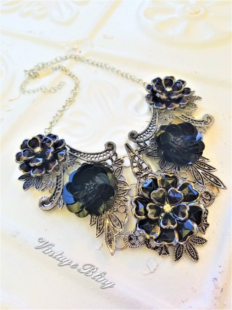 Black Beauty Collar/Bib Style Necklace