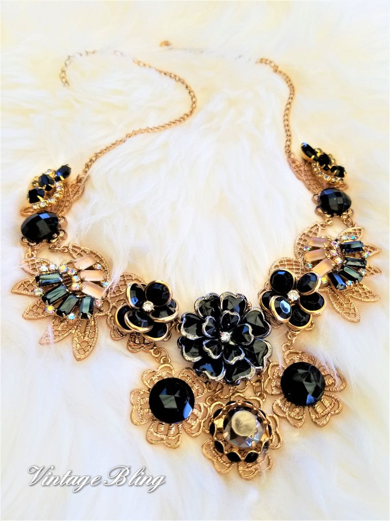 Black and Gold Beauty Statement Necklace