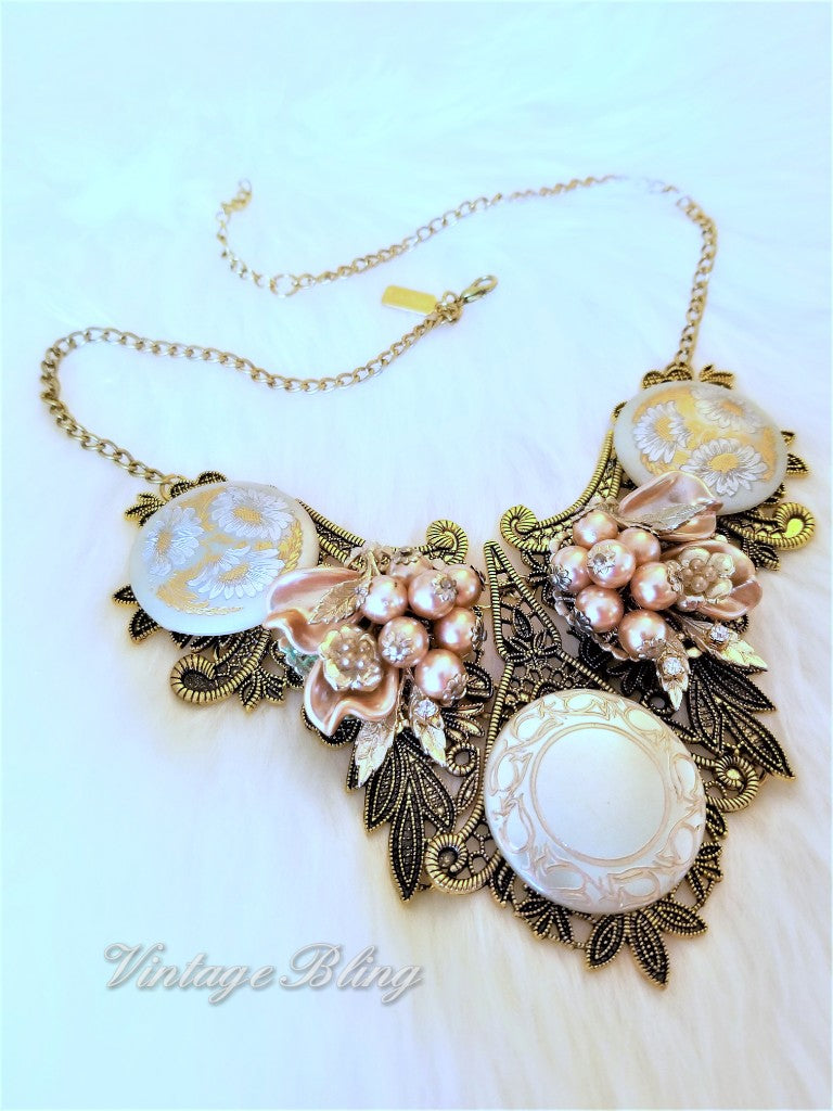 Gold and Ivory Statement Necklace