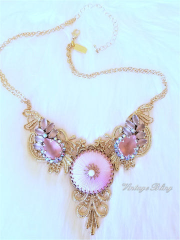 Soft Blush Pink Statement Necklace