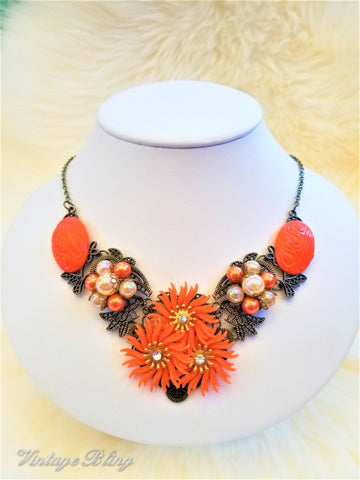 Sassy Orange Statement Necklace