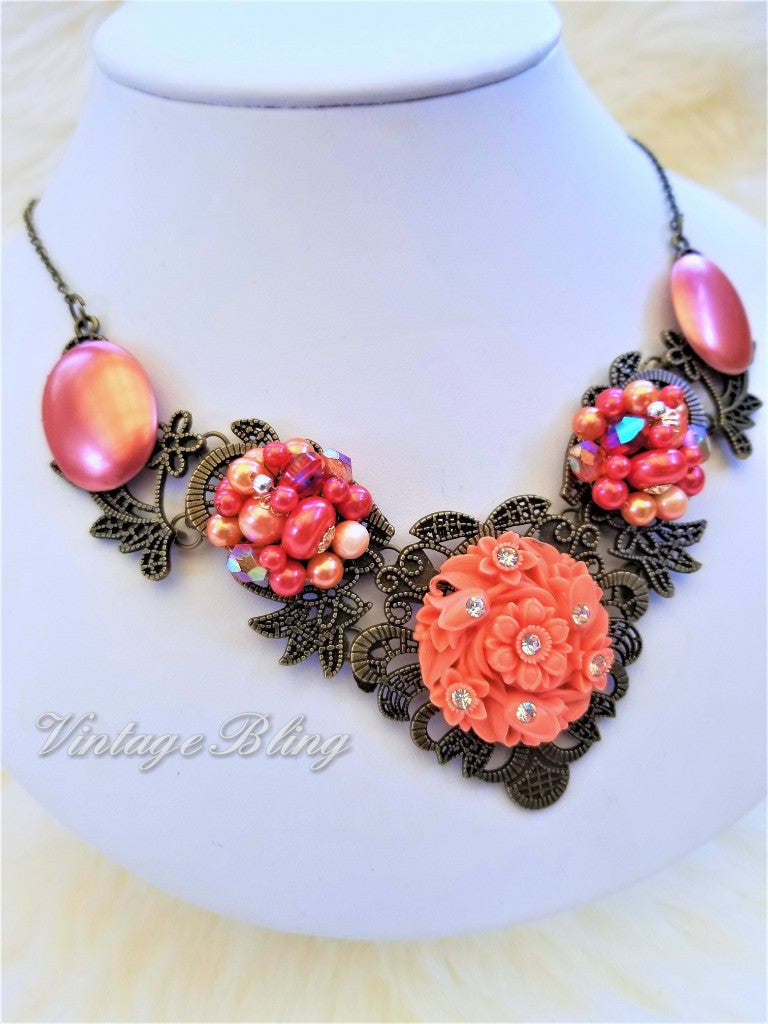 Burnt Coral Statement Necklace