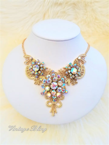 Aurora Borealis Statement Necklace