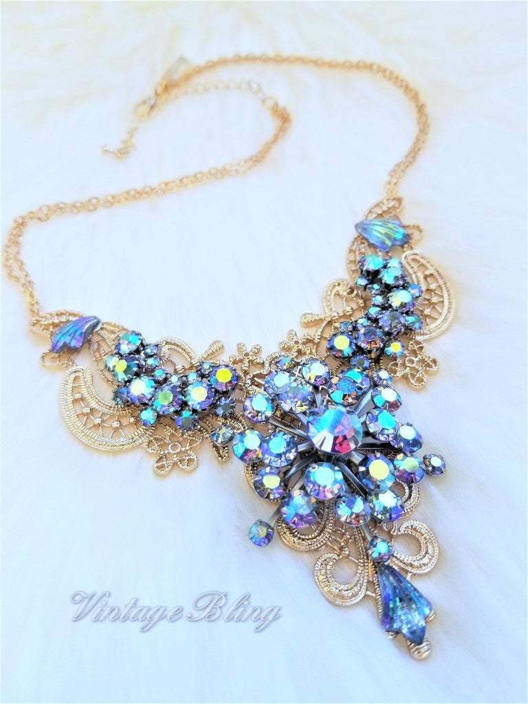 Blue Aurora Borealis Statement Necklace