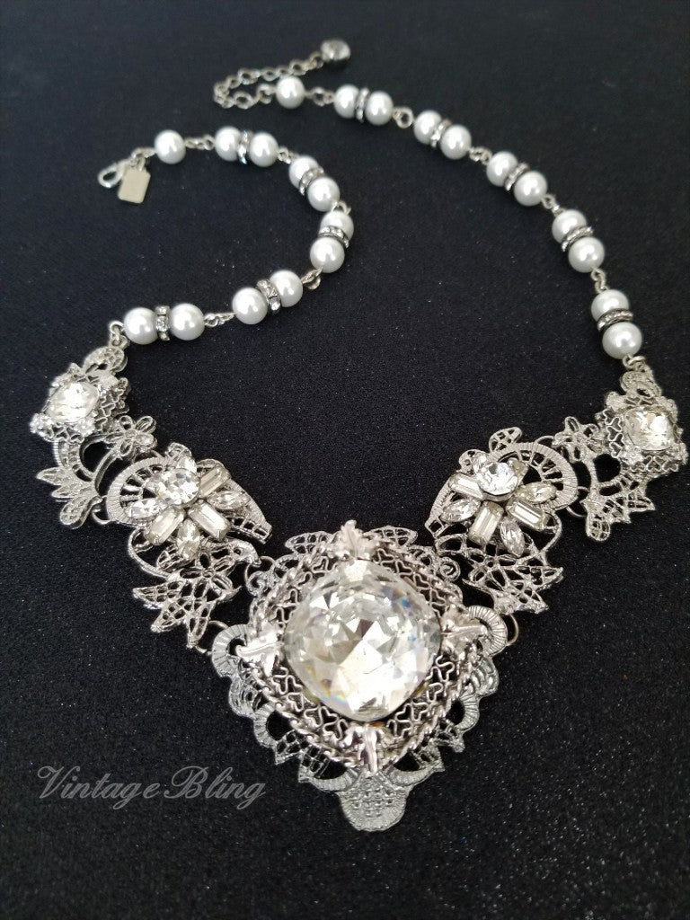 Silver Filigree Rhinestone Necklace