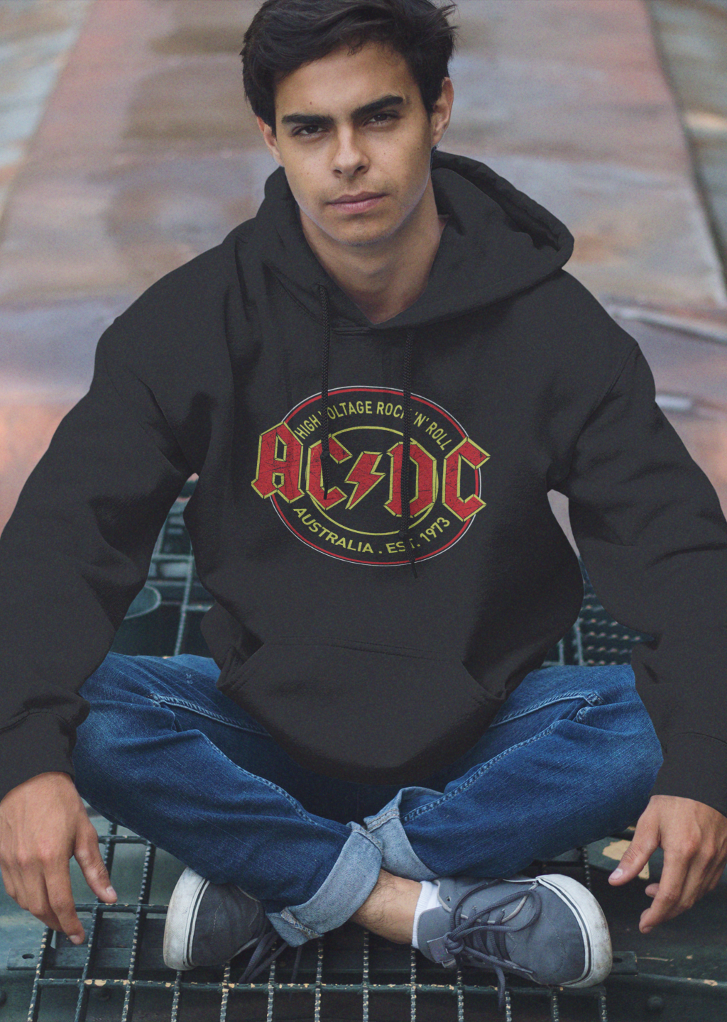 Men Full Sleeves Black Cotton ACDC Hoodie Sweatshirt