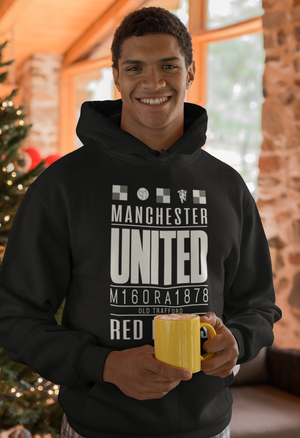 Men Full Sleeves Black Cotton Manchester United Hoodie Sweatshirt