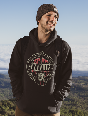 Men Full Sleeves Black Cotton Nirvana Hoodie Sweatshirt