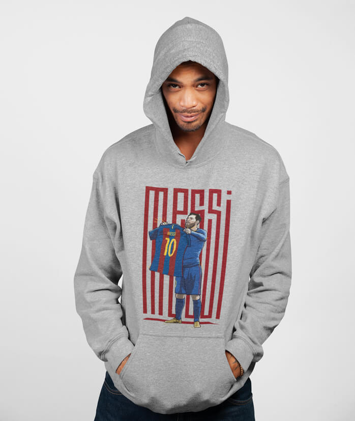 Men Full Sleeves Grey Cotton Messi Hoodie Sweatshirt
