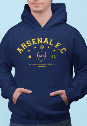 Men Full Sleeves Navy Blue Cotton Arsenal Hoodie Sweatshirt