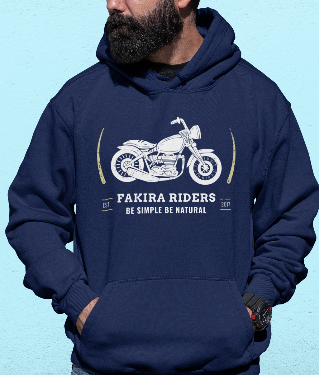 Men Full Sleeves Navy Blue Cotton Fakira Riders Hoodie Sweatshirt