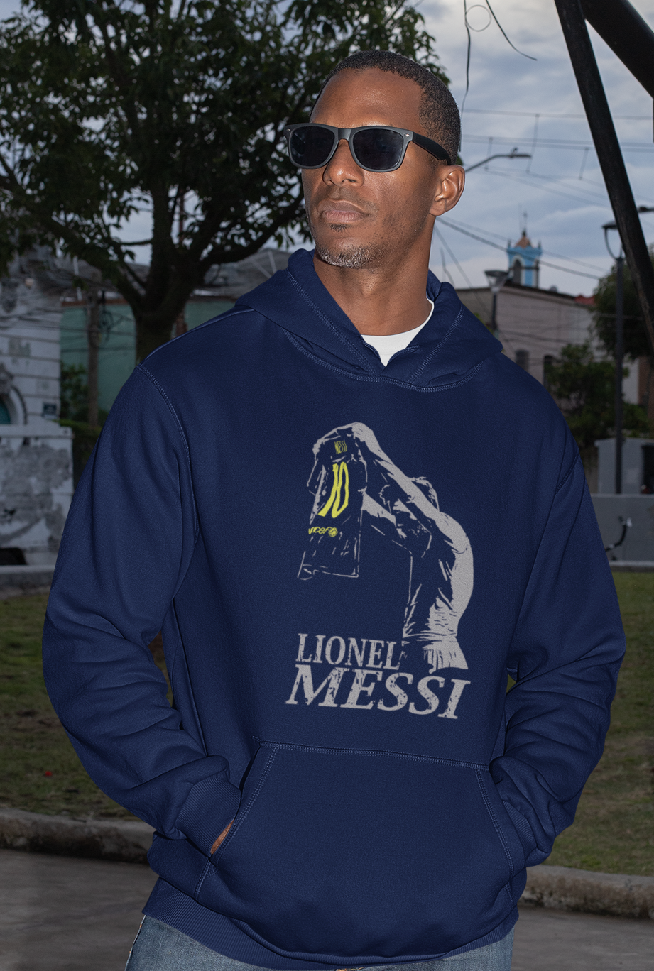Men Full Sleeves Navy Blue Cotton Messi Hoodie Sweatshirt