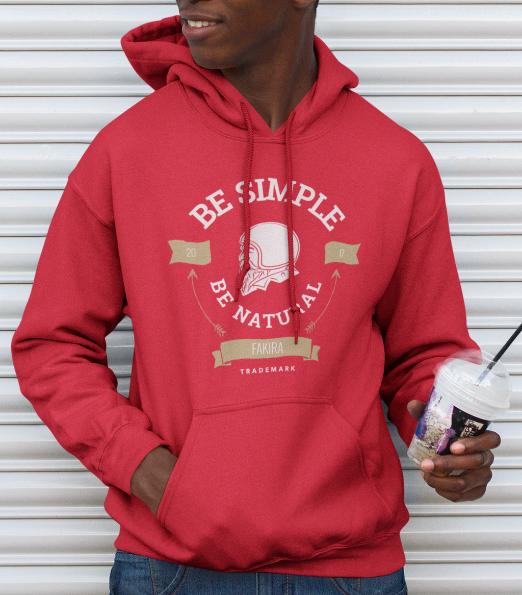 Men Full Sleeves Red Cotton Fakira Riders Hoodie Sweatshirt
