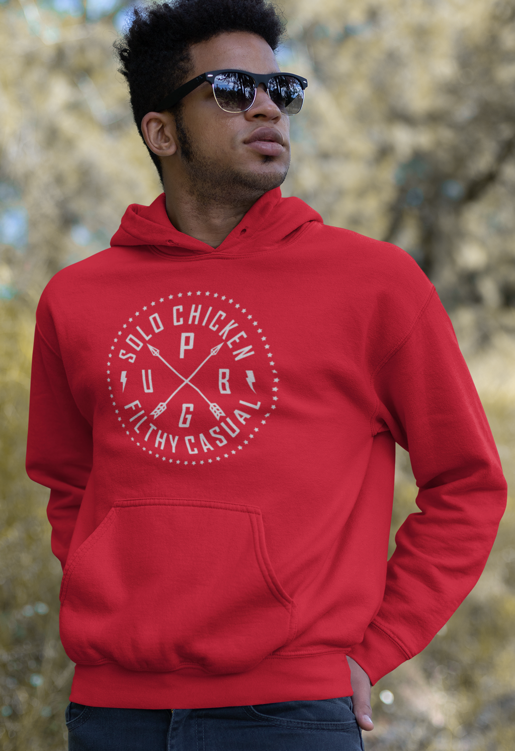 Men Full Sleeves Red Cotton Pubg Hoodie Sweatshirt