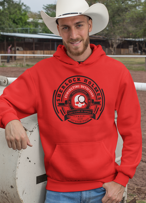 Men Full Sleeves Red Cotton Sherlock Holmes Hoodie Sweatshirt