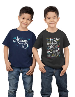 Kids Premium Quality 100% Bio Wash Cotton Navy Blue and Black Combo T-Shirt KIDS_NB-BLK_COMBO_009