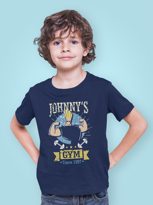 Kids Half Sleeves Navy Blue Cotton Johnny Bravo T-Shirt