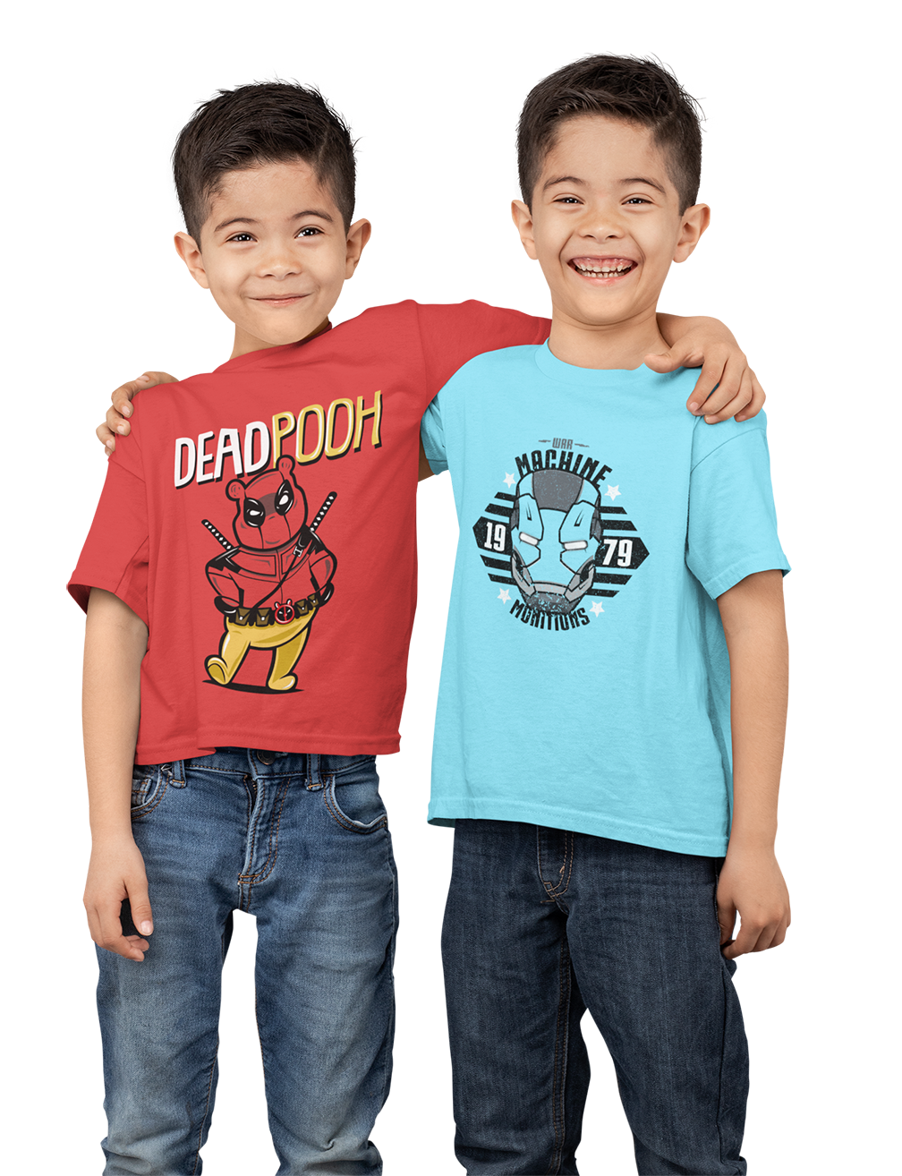Kids Premium Quality 100% Bio Wash Cotton Sky Blue and Red Combo T-Shirt KIDS_RD-SKB_COMBO_005