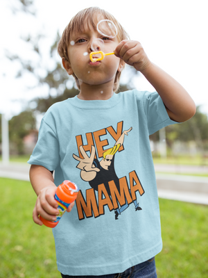 Kids Half Sleeves Sky Blue Cotton Johnny Bravo T-Shirt