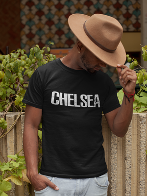 Men Half Sleeves Black Cotton Chelsea T-Shirt